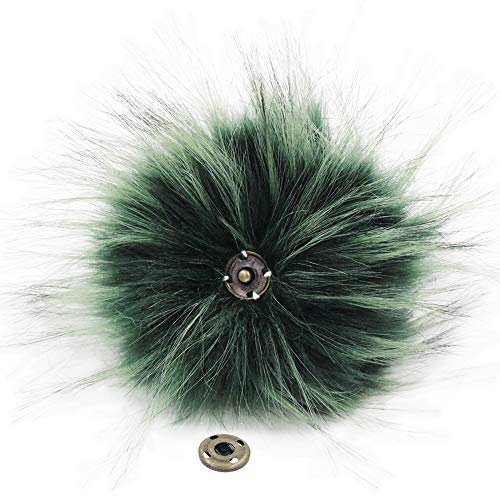 SUSULU Pack of 12 Faux Raccoon Fur Pompoms with Press Button for Knitting Hats (Green) -  furling, FR11DG1*12