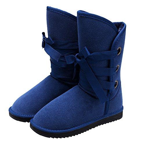 ZEARO Schneestiefel Damen Schnee Stiefel Aufladungs Winter warme schnüren oben flache Ferse Fleece gezeichnete Gr.36-40 Blau
