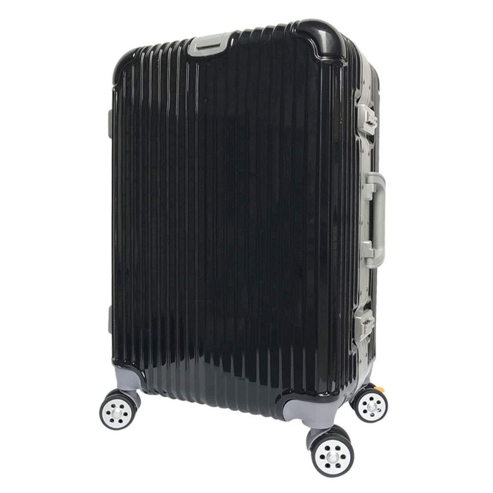 トロリー学生20インチ24インチローズゴールドアルミフレームパスワードロック荷物ユニバーサルホイールスーツケース (Color : ブラック, Size : 20 inches)   B07QXC46JC