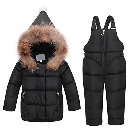 Tortor 1Bacha New Baby Girl Snow bib and Puffer Jacket 2-Piece Snowsuit (80, Black)