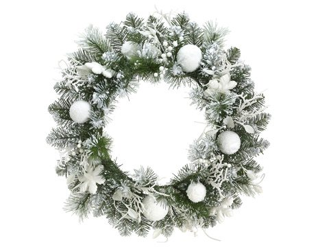 Allstate 24'' Pre-Decorated Snowy Flocked Artificial Christmas Wreath - Unlit