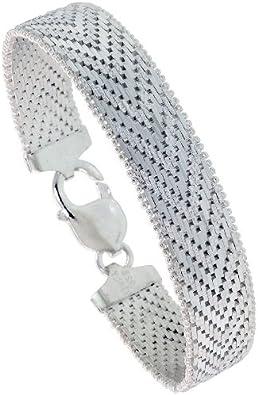 Italy Vior 925 Sterling Silver 2 Tone Wide Riccio Link Bracelet 7