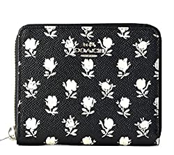 Coach Crossgrain Leather Medium Continental Wallet 52788 Black Parchment Bedland Flower Print