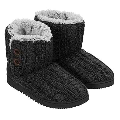 Dearfoams Women's Memory Foam Sweater Knit Indoor/Outdoor Bootie Slippers (Small / 5-6 B(M) US, Red,black)