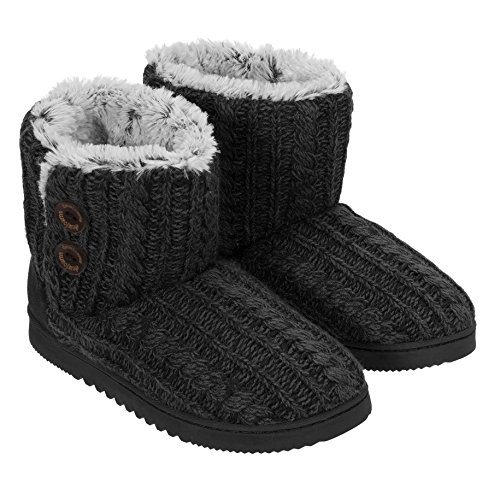 Dearfoams+Womens+Memory+Foam+Sweater+Knit+Bootie+Slippers%2C+M%2C+Black+Marl