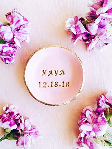 Round Earrings Monogrammed - PINK PERSONALIZED ring dish | trinket dish jewelry bowl personalized jewelry dish gifts for her name ring holder bridesmaid gifts