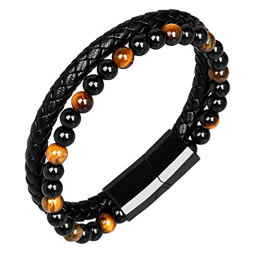 LOGAGA Mens Bracelets Anchor Leather Bracelet Natural Tiger Eye Lava Rock Matte Stone Bead Bracelets with Stainless Steel Magnetic Clasp Genuine Braided Cuff Bracelets