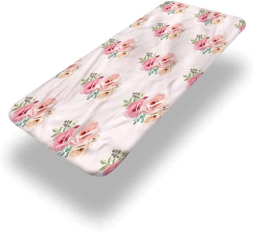 LCGGDB Dusty Rose Polyester Picnic Table Fitted Tablecloth Cover,Bridal Bouquet Corsage Elastic Edged Picnic Table Covers,30in x 72in (6ft),for Picnic Table