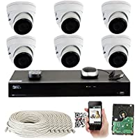 GW 8 Channel H.265 PoE NVR Ultra-HD 4K (3840x2160) Security Camera System with 6 x 4K (8MP) IP Dome Camera, 100ft Night Vision, Weatherproof Surveillance Camera