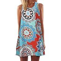Womens Summer Dress Sleeveless Boho Floral Print Mini Tank Dress Plus Size Beach Casual Sundress Short Dress