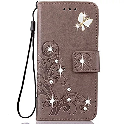 ZTE Grand X4 Wallet Case Fashion Handmade 3D Bling Folio PU Leather Flip Case Cover with Card Holder and Wrist Strap for ZTE Grand X4 (Grey)