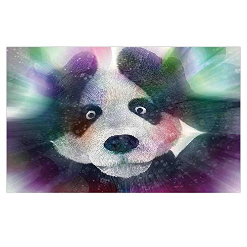 3D Floor/Wall Sticker Removable,Psychedelic Decor,Panda Character in Dream World of Magic Hallucination Junkie Animal Art,Grey White,for Living Room Bathroom Decoration,35.4x23.6