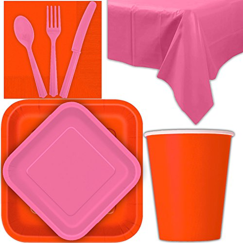 (Disposable Party Supplies for 28 Guests - Pumpkin Orange and Hot Pink - Square Dinner Plates, Square Dessert Plates, Cups, Lunch Napkins, Cutlery, and Tablecloths: Premium Quality Tableware Set)