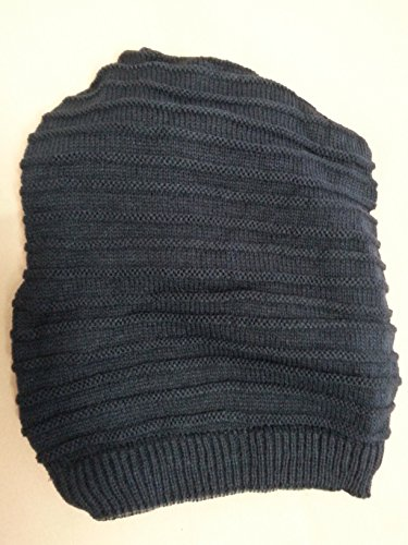 Reversible Double Thick Slouch Knit Hat / Beanie Doubles As a Scarf (2.Navy Blue / Navy Blue-Dark Gray-Light Gray)