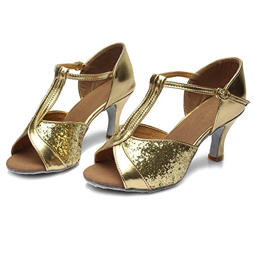 Zapatos Baile estándar Modelo de HIPPOSEUS 259 Latinos 7cm Mujer de Oro 76wEad