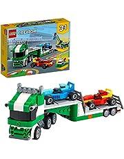 LEGO 31113 Creator 3in1 Racewagen Transportvoertuig Speelgoedtruck met Oplegger, Bouwkraan en Sleepboot voor Kinderen
