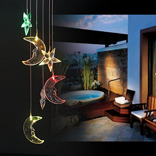 BALANSOHO Solar Mobile Wind Chimes Moon Star Color-Changing Waterproof LED Hanging Lamp Night Lights for Outdoor Gardening Home Decoration by BALANSOHO