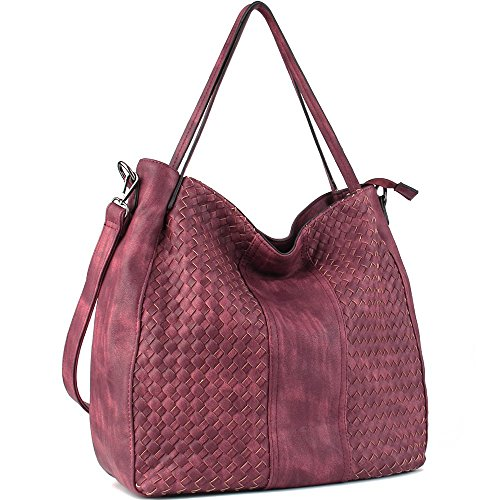 WISHESGEM Women Handbags Top-Handle Fashion Hobo Tote Bags PU Leather Shoulder Satchel Bags Dark Red