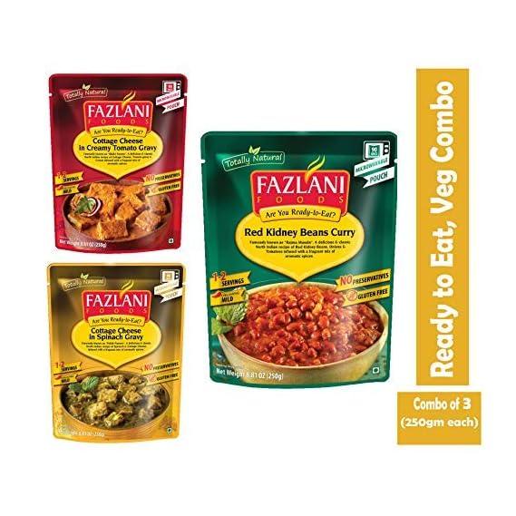 FAZLANI FOODS Ready to Eat Veg Combo of Palak Paneer, Rajma Masala & Shahi Paneer -Pack of 3, 250gm Each