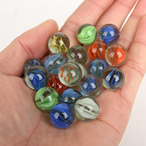 Smarty 100Pcs 14mm Coloured Glass Marbles Kids Traditional Toys and Good for Fish Tank and Target Practice ()