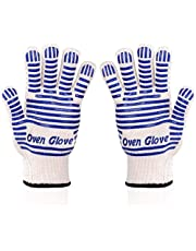 Oven Gloves,Oven Glove,Oven Mitts, Hot Surface Handler with Non-Slip Silicone Grip, Suitable for Kitchen Barbecue Baking Gloves Cooking Gloves Baking Gloves,Blue(2 Pack)