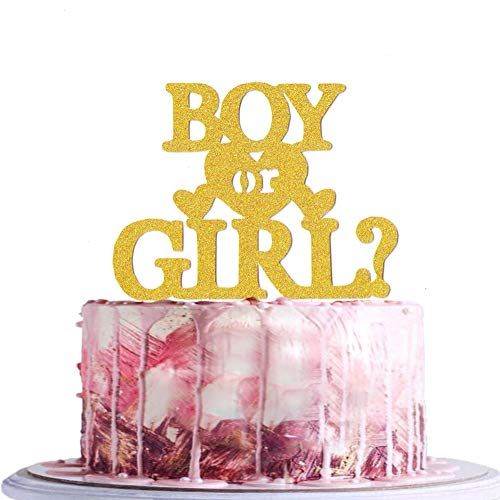 BLINGBLING Boy or Girl Cake Topper - Gold Glitter for Baby Girls or Boys Neutral Kids - Baby Shower Decorations Party Supplies