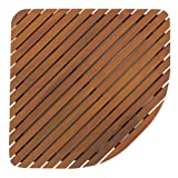 Bare Decor Dania Corner Shower Spa Mat, 24 by 24-Inch, Solid Teak Wood and Oiled Finish