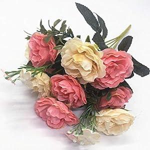 CATTREE Artificial Roses Flowers, Plastic Plants Silk Fake Rose Wedding Bridal Bouquet Party Indoor Outdoor DIY Home Garden Verandah Office Table Centerpieces Arrangements Decoration 5