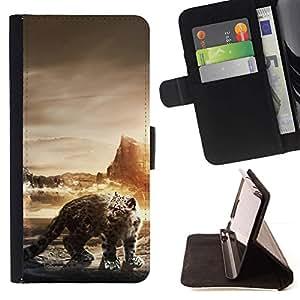 Momo Phone Case / Flip Funda de Cuero Case Cover - Leopardo de nieve;;;;;;;; - Samsung Galaxy J3 GSM-J300