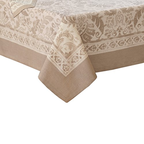 Villeroy and Boch Milano Jacaquard Print Cotton Fabric Tablecloth, Taupe -