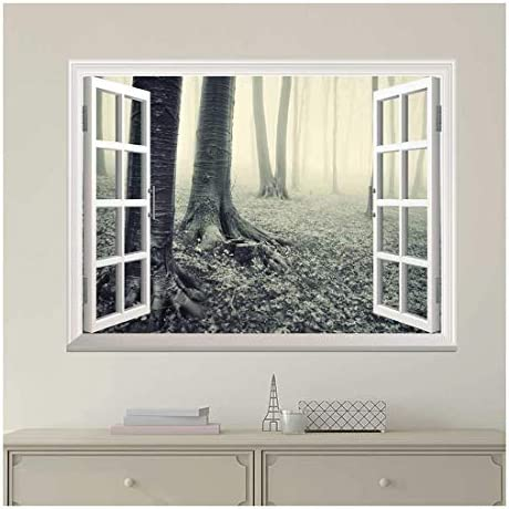 Modern White Window Looking Out Into a Gray Foggy Forest - Wall Mural, Removable Sticker, Home Decor - 24x32 inches