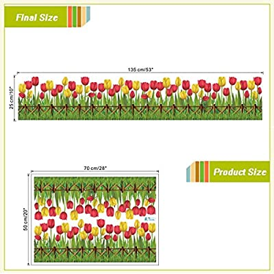 FunnyPicker Tulip Flowers Fences Baseboard Wall Decals Home Decorative Stickers Adesivos De Paredes Living Bedroom Mural Art Diy