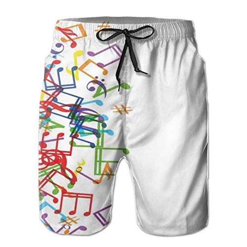(Men Swim Trunks Beach Shorts,Trippy Style Music Notes with Clef Rhythm Tempo Melody Harmony Print XXL)