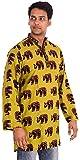Indian 100% Cotton Men's Shirt Kurt 10 Pcs Lot Elephant Print Plus Size loose fit Greenish Yellow Color
