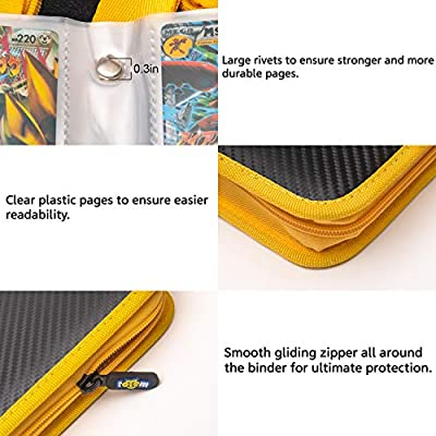 Totem World Zipper Binder Black Yellow with 25 4-Pocket Side-Loading Pages - Fits Pokemon, Yu-Gi-Oh, and Magic The Gathering Cards: Toys & Games