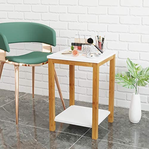 Bameos Side Table Modern Industrial End Table 2 Tier Side Table With Storage Shelf Accent Coffee Table For Living Room Bedroom Balcony Family And Office In White Color 13 4x13 4x19 7inch Kitchen Dining Amazon Com