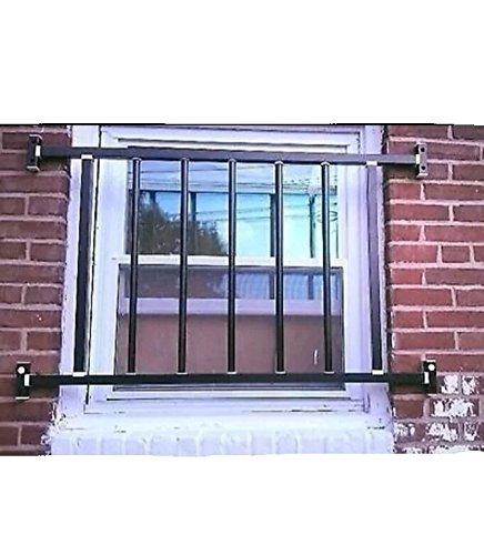 Window Security Guard Steel Bars, Black. Size: 44*48