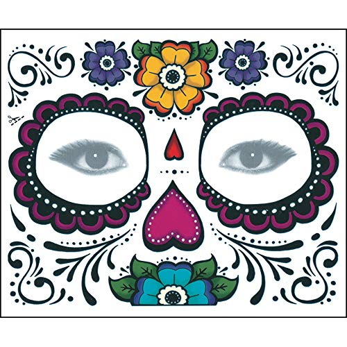UOKNICE Halloween 2PCS Day of The Dead Dia de Los Muertos Face Mask Sugar Skull Tattoo Beauty