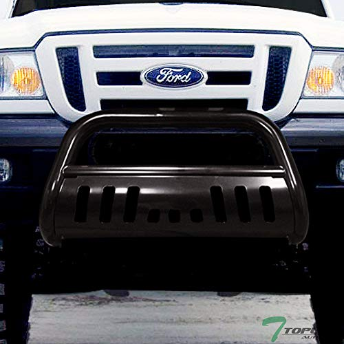 (Topline Autopart Black Bull Bar Brush Push Front Bumper Grill Grille Guard With Skid Plate For 98-11 Ford Ranger)