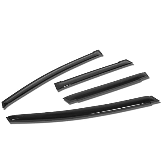 DNA Motoring WVS-T2-0063 Window Vent Visor Deflector Rain Guard 4pcs, Dark Smoke