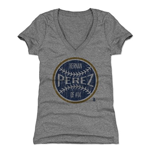 Perez Jersey - 500 LEVEL Hernan Perez Women's V-Neck Shirt X-Large Tri Gray - Milwaukee Baseball Women's Apparel - Hernan Perez Milwaukee Ball B