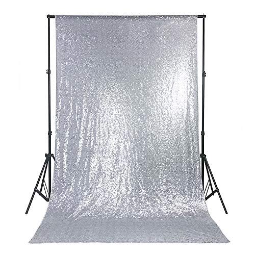 QueenDream 4ftx6.5ft Silver Backdrop Halloween Photo Booth Sequin Backdrop Photo Background Photo Backdrop Halloween backdrops backdrops for Women