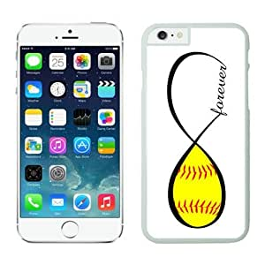 Iphone 6 Plus Case 5.5 Inches, Popular White Hard Phone Cover Case for Apple Iphone 6 Plus Accessories Softball Forever Softball Infinity Forever