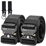 AIZESI 2 Piece Men's Tactical Belt, Military Style Nylon Webbing Riggers Belt with Quick Release Heavy-Duty Metal Buckle, for Worker,Police,Firefighter,Soldiers(120# 2pcs-Black)