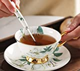 DHG European Afternoon Tea Ceramic Household Coffee Cup with Saucer Spoon Cup Holder Gift Set Simple Bone China Mark Water Cup,F,13.56.510.5CM