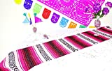 Pink Mexican Table Runner, Aztec Table Cloth, Mexican Wedding, Day of the Dead Party Decor, Colorful Fiesta Decorations 13X77 Inches