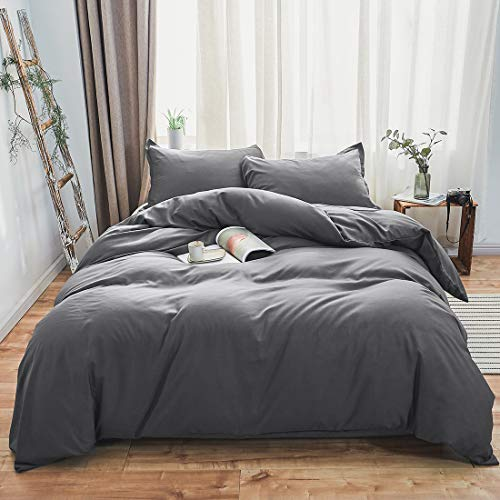 SORMAG Gray Duvet Cover Queen,Microfiber 3 Piece Bedding,Solid Color- Ultra Soft with Zipper Close & Corner Ties(90