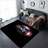 Vanfan Design Home Decorative Captain America Shield Modern Non-Slip Doormats Carpet for Living Dining Room Bedroom Hallway Office Easy Clean Footcloth