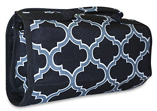 ever-moda-quatrefoil-hanging-travel-toiletry-cosmetic-organizer-storage-bag-black-grey