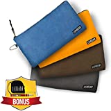 """Waxed Canvas Tool Bags Bundle - 4 Pack - 20oz Heavy Duty - Waterproof - 10 Gauge Brass Zipper Bag - 12.5"""" x 7"""" - Tool Pouches - Multipurpose Pouch - 8 in 1 Screwdriver & 16 Foot Tape Measure Included"""